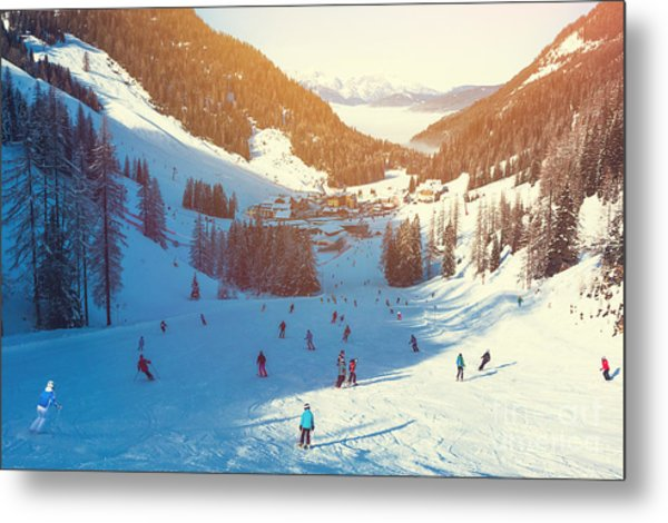 Skiing Area In West Alps In The Morning Metal Print