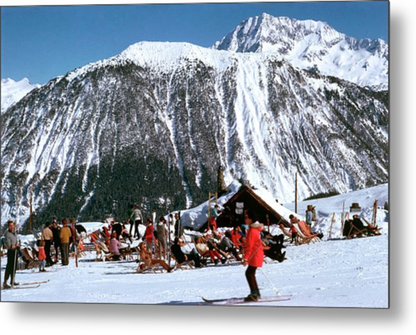 Skiing At Courcheval Metal Print