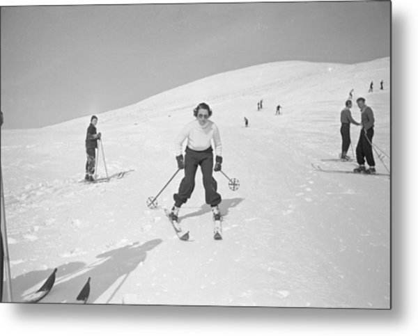Skiing At Sun Valley Metal Print