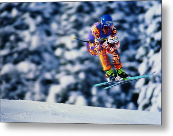 Skiing, Downhill Event, Competitor Metal Print