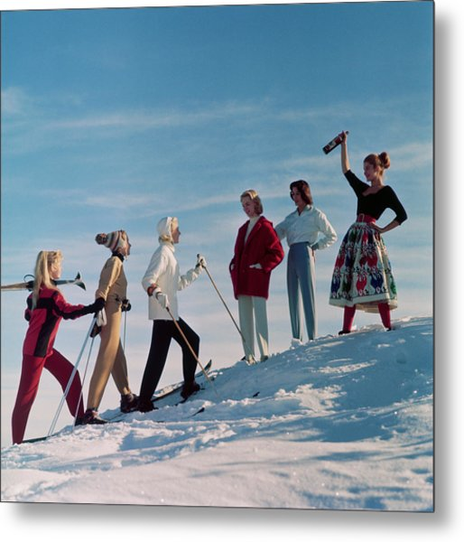 Skiing Party Metal Print by Chaloner Woods