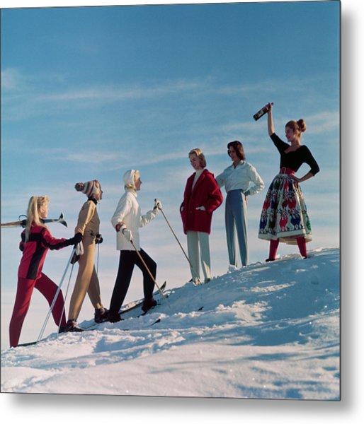 Skiing Party Metal Print