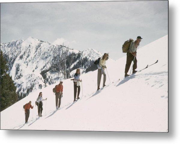 Skiing Uphill Metal Print