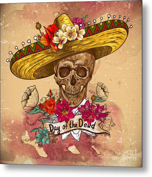 Skull In Sombrero With Flowers Day Of Metal Print
