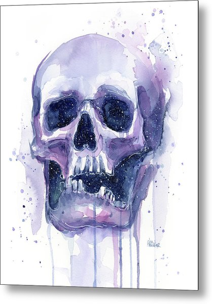 Skull In Space Metal Print