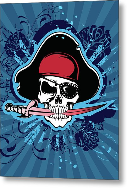 Skull With Pirates Hat, Eyepatch And Metal Print by New Vision Technologies Inc
