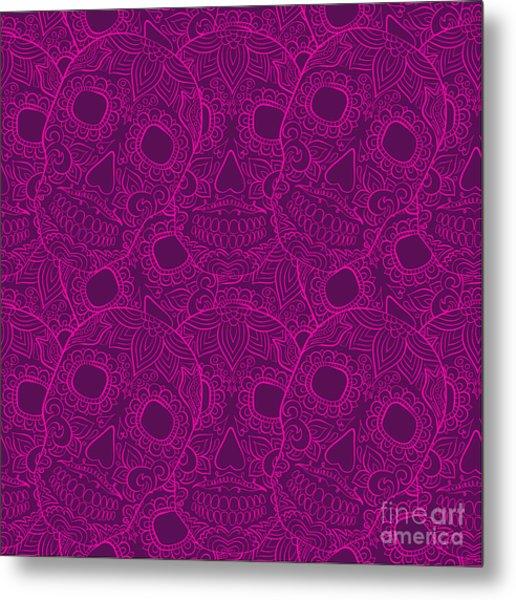 Skulls Seamless Pattern Metal Print