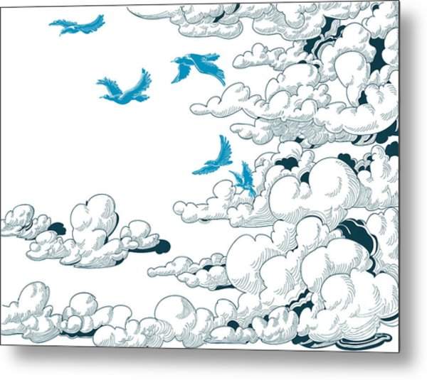 Sky Background, Clouds And Blue Birds Metal Print