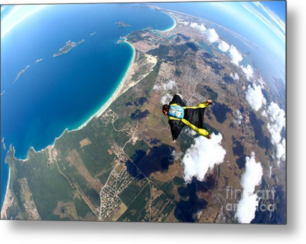 Skydive Wing Suit Over Brazilian Beach Metal Print