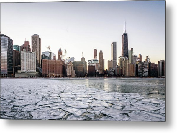 Skyline And Cracks In The Water Metal Print
