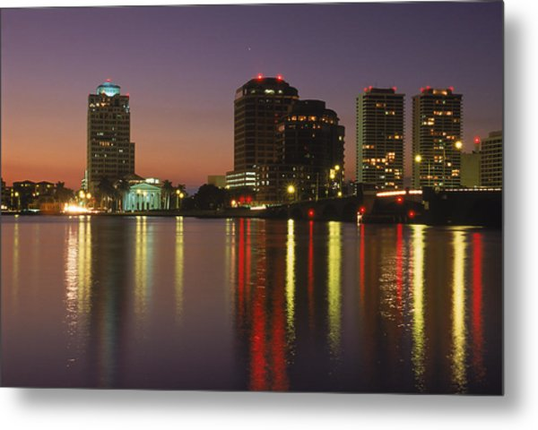 Skyline And Water, West Palm Beach, Fl Metal Print