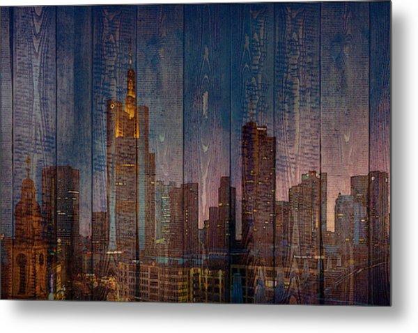Skyline Of Frankfurt, Germany On Wood Metal Print