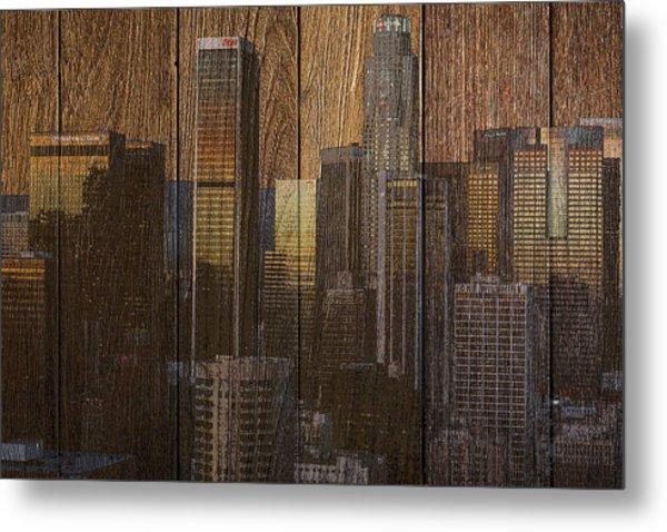 Skyline Of Los Angeles, Usa On Wood Metal Print
