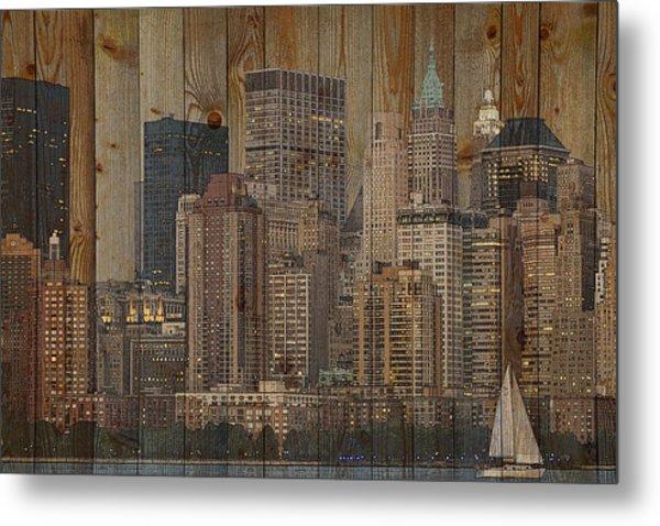Skyline Of New York, Usa On Wood Metal Print