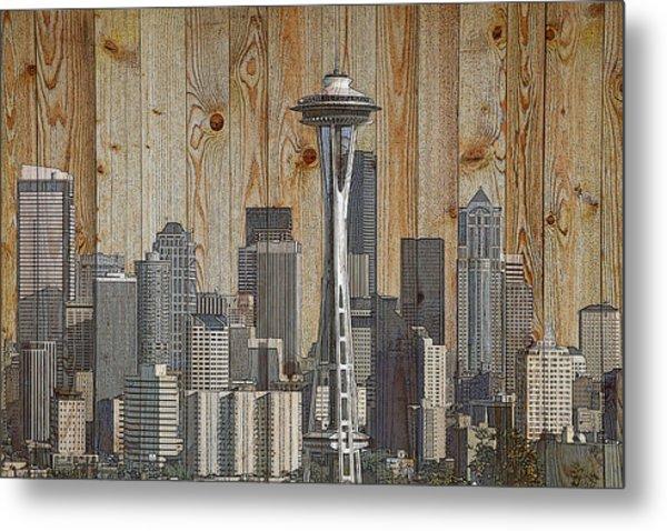 Skyline Of Seattle, Usa On Wood Metal Print