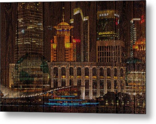Skyline Of Shanghai, China On Wood Metal Print