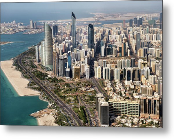 Skyscrapers And Coastline In Abu Dhabi Metal Print by Extreme-photographer