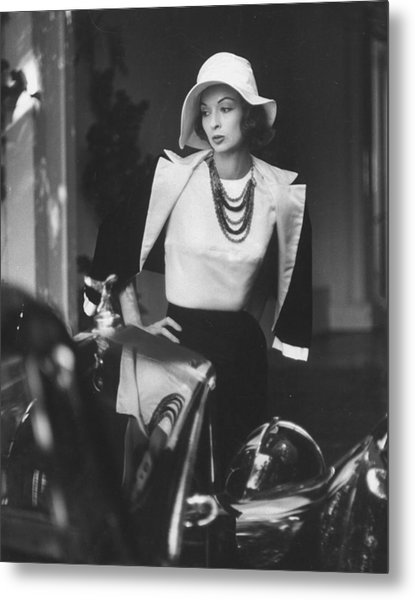 Slouch Hat In Garbo Tradition Made Of Wh Metal Print by Gordon Parks