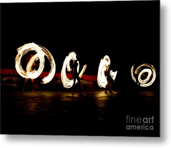 Slow Shutter Speed Of Fire Show Metal Print by The Sun Photo