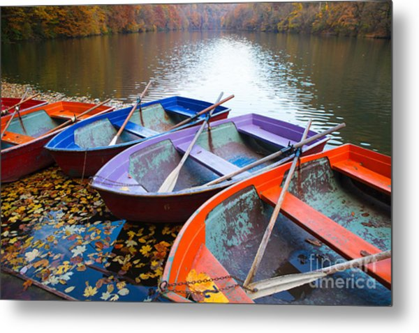 Small Pier With Boats On Lake. Colorful Metal Print