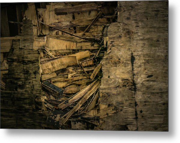 Smashed Wooden Wall Metal Print