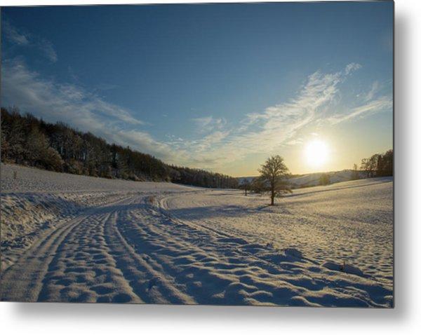 Snow And Sunset Metal Print