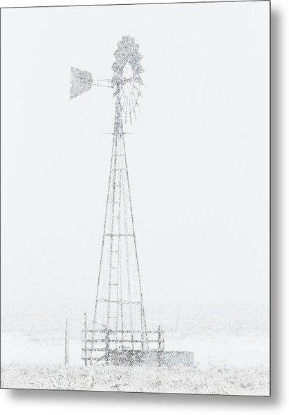 Metal Print featuring the photograph Snow And Windmill 04 by Rob Graham