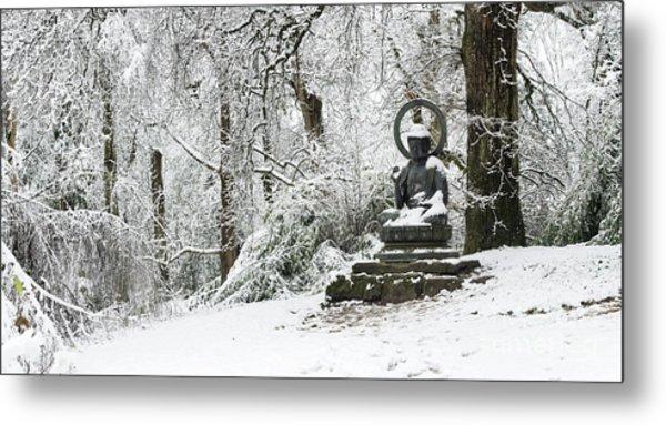 Snow Buddha Batsford Arboretum Metal Print by Tim Gainey