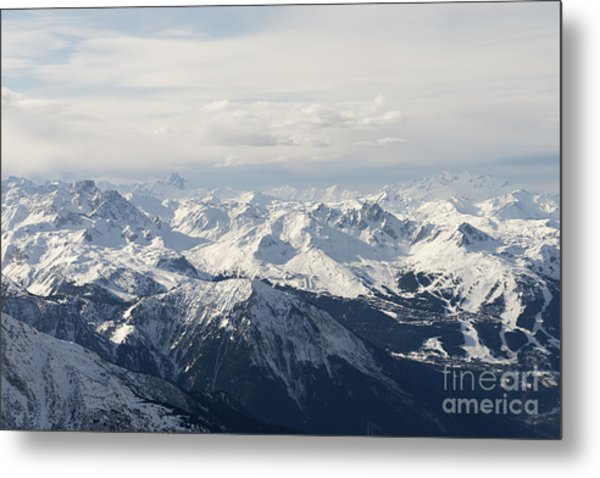 Snow Covered Alps Mountains Aerial View Metal Print
