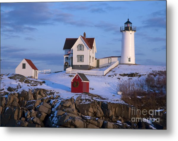 Snow Covered Lighthouse During Holiday Metal Print
