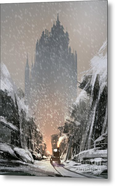 Snow-covered Ruined Buildings Leads Metal Print