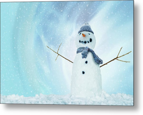 Snowman With Arms Open Metal Print