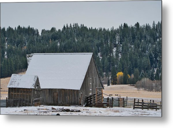 Snowy Barn Yellow Tree Metal Print