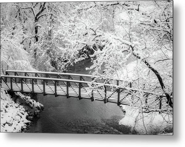 Snowy Bridge On Mill Creek Metal Print