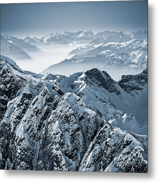 Snowy Mountains In The Swiss Alps. View Metal Print