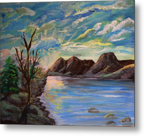 Metal Print featuring the painting Snowy Range And Lookout Lake by Chance Kafka