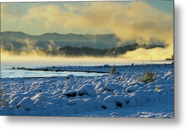 Snowy Shoreline Sunrise Metal Print