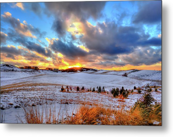 Metal Print featuring the photograph Snowy Sunset by David Patterson