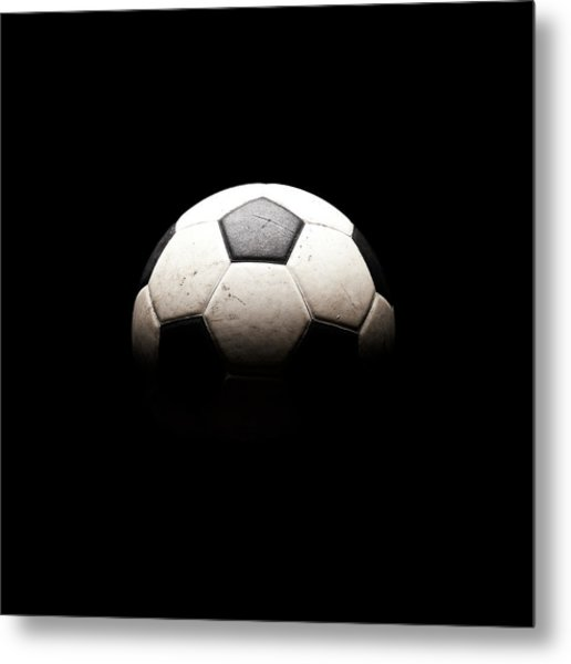 Soccer Ball In Shadows Metal Print