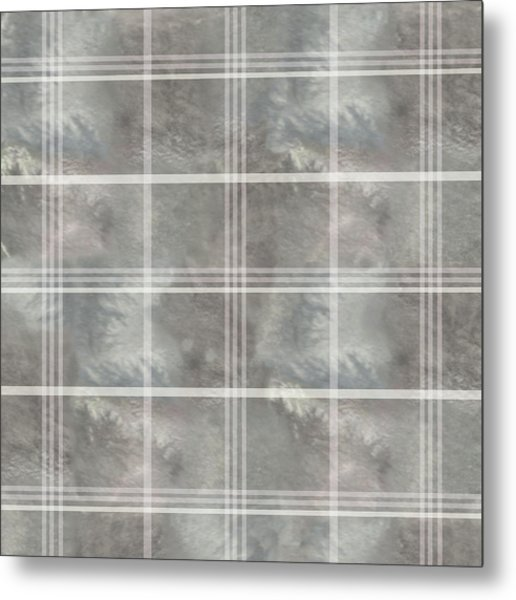 Soft Textured Cream And Blue Plaid Metal Print