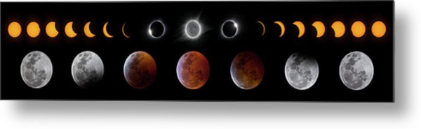 Solar And Lunar Eclipse Progression Metal Print