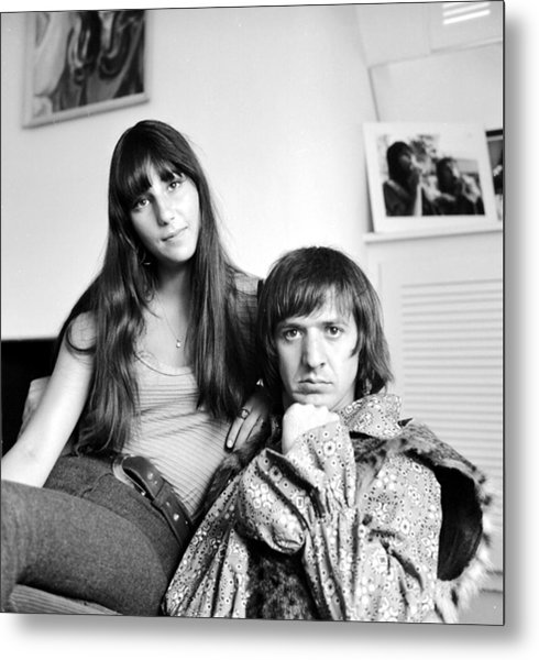 Sonny & Cher Portrait Session At Home Metal Print by Michael Ochs Archives