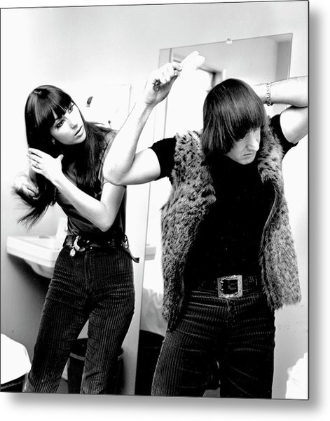 Sonny & Cher Portrait Session Metal Print by Michael Ochs Archives