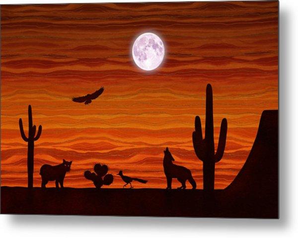Southwest Desert Silhouette Metal Print