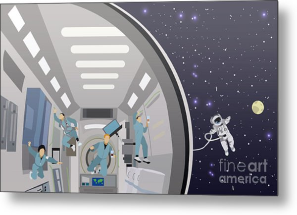 Space Mission Concept Vector Metal Print