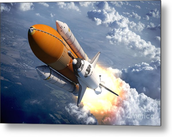 Space Shuttle Flying Over The Clouds Metal Print
