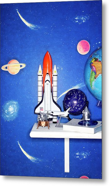 Space Travel Paraphernalia On Bedroom Metal Print by Martin Poole