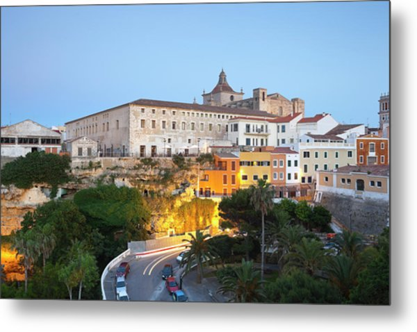 Spain, Menorca, Mahon, View Of Old Town Metal Print by Westend61