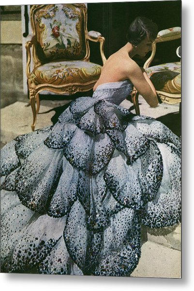 Spangled Christian Dior Evening Gown, 1949 Metal Print by Horst P Horst