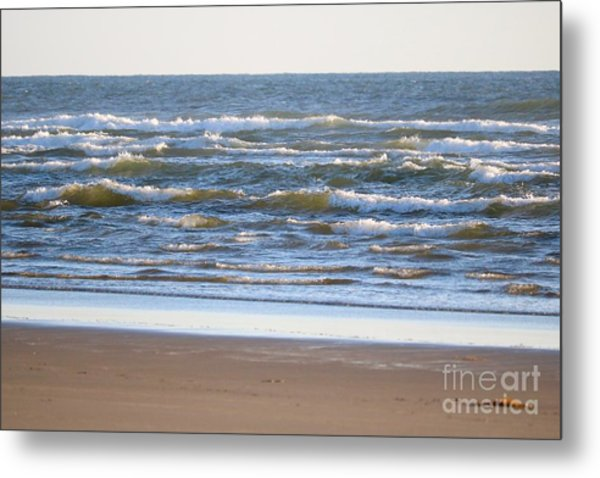Sparkling Waves With Beach Metal Print